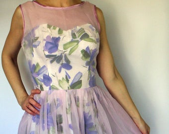 LAVENDER ILLUSION OVERLAY floral party dress purple 50's 60's S (A2)