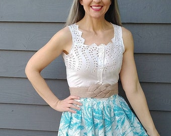 Made to order Phoenix silk camisole Edwardian corset cover style summer tank top from top flowy top