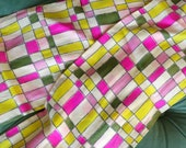 PINK CHARTREUSE SILK vintage 1960 39 s 1970 39 s scarf green