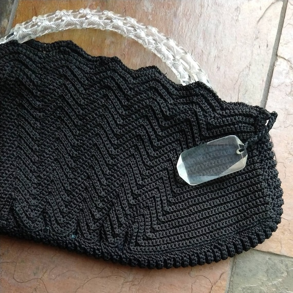 BLACK CORDE HANDBAG purse lucite handles 1940s 19… - image 6
