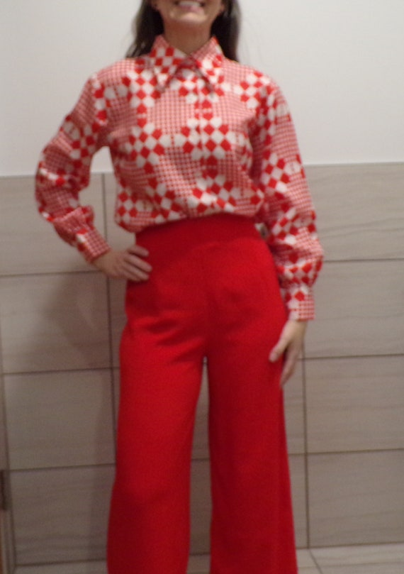 Red Checked Blouse Butterfly Collar 1970's Button Down S M by Etsy