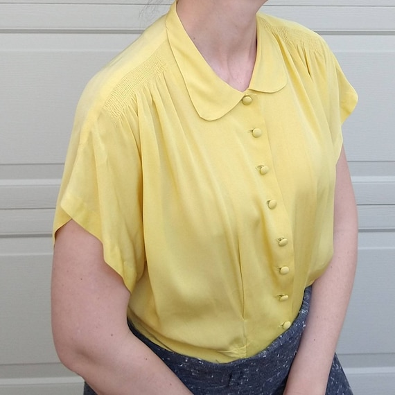 BUTTER YELLOW 1940's 1950's BLOUSE M L (F9) - image 4