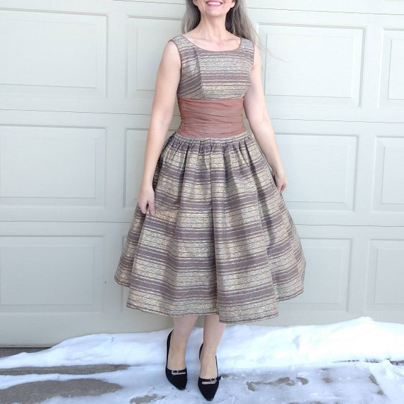 STRIPED PARTY DRESS midcentury prom dress 50's 60… - image 1