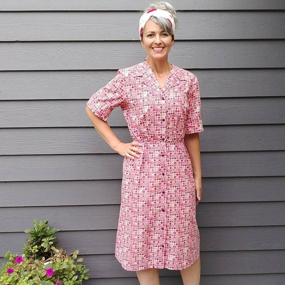 1950's COTTON DAY DRESS princess peggy 50's M