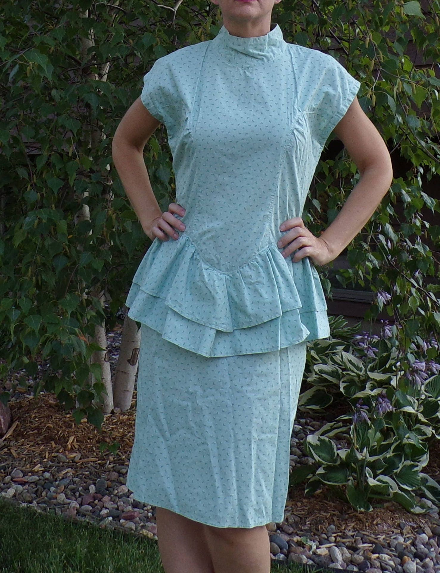 80s Dresses | Casual to Party Dresses Mint Green 1980s Cotton Peplum Dress Calico M  D7 $20.00 AT vintagedancer.com