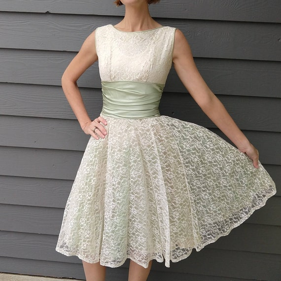 GREEN and WHITE party DRESS lace tulle 50's xs xxs