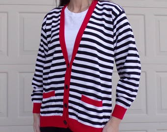 black and white STRIPED CARDIGAN SWEATER 80s 90s M