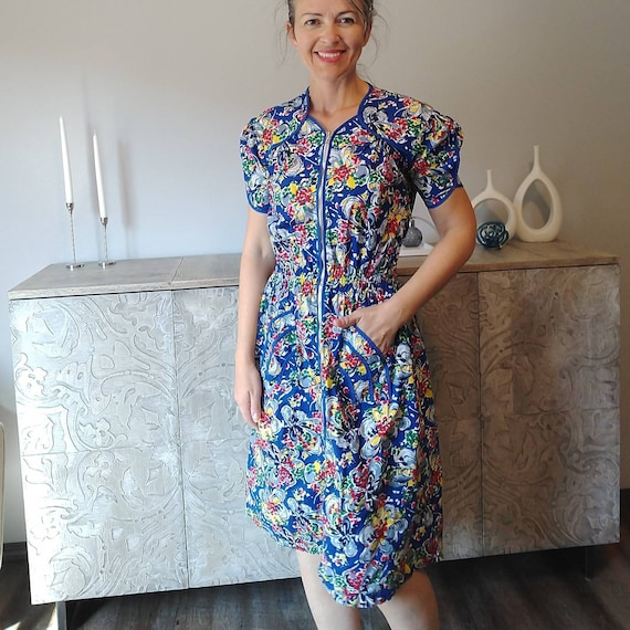1950's COTTON HOUSE DRESS 50's day dress S
