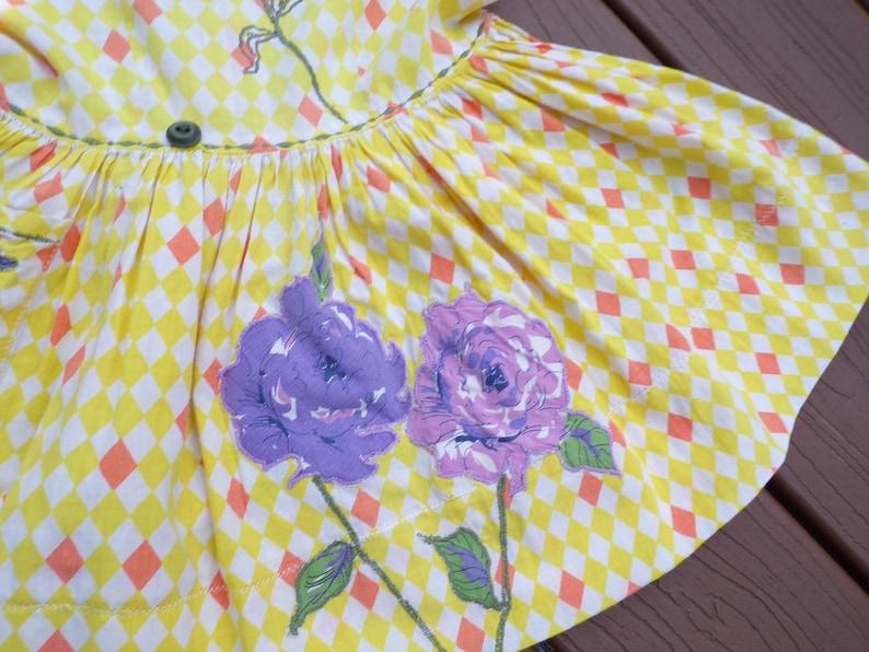 VINTAGE BABY DRESS novelty print appliqu\u00e9 50/'s 2T 2 T