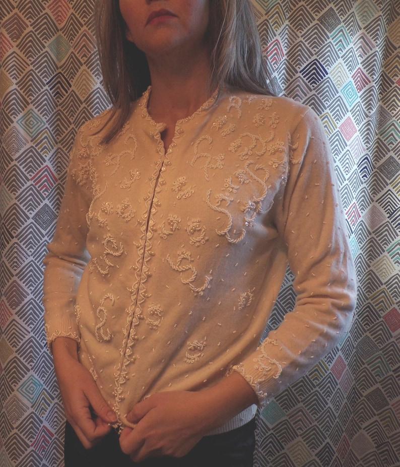 B5 vic /& vic IVORY BEADED CARDIGAN 1950/'s 1960/'s sweater S M