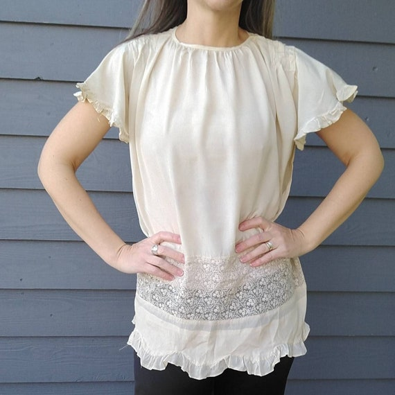1920's SILK FLOAT BLOUSE 20's ivory S (K10)