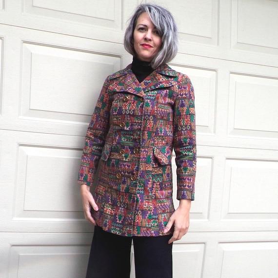 1960's TAPESTRY PRINT JACKET pea coat 60's S (G1)