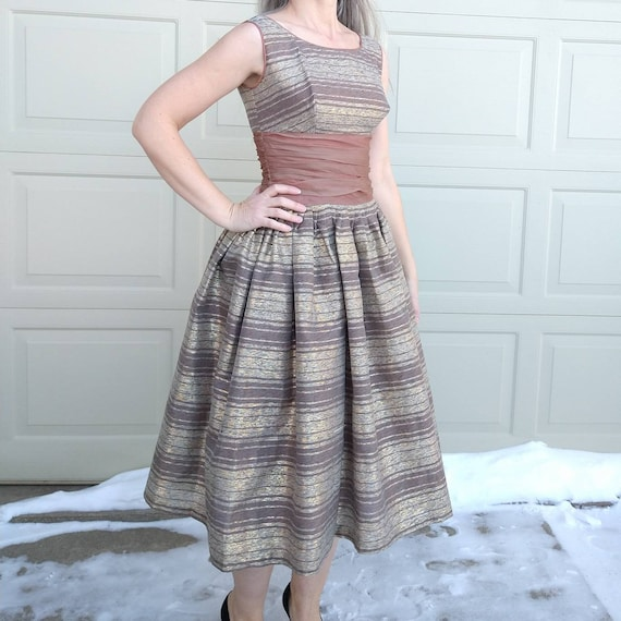 STRIPED PARTY DRESS midcentury prom dress 50's 60… - image 2