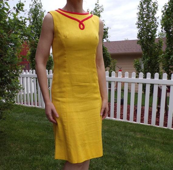 bright yellow MOD SHIFT DRESS sleeveless summer S - image 3