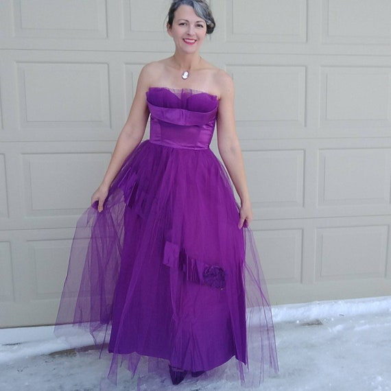 VIOLET 1950's PARTY DRESS 50's prom cupcake S (K9)