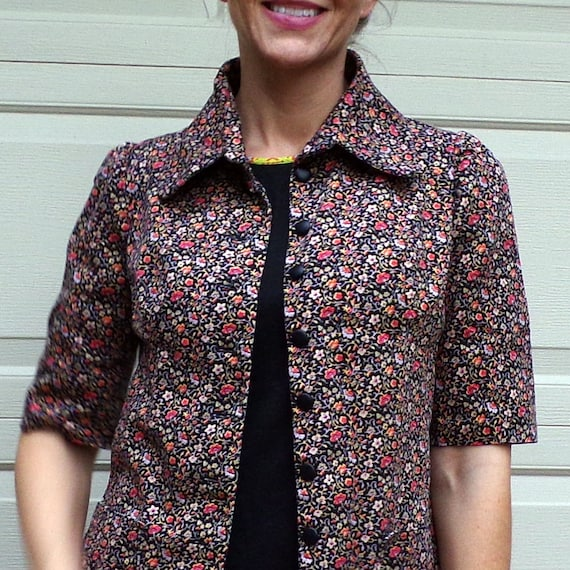 FLORAL TWILL JACKET art smock utility 70's does 3… - image 3