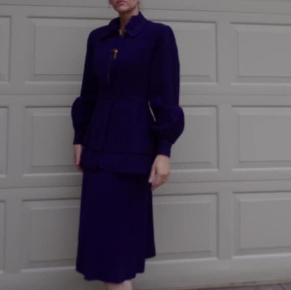 ROYAL PURPLE wool skirt SUIT 40's 1940's S - image 3