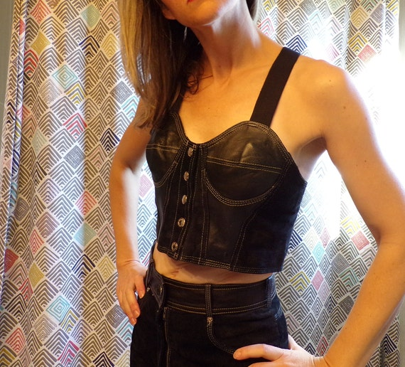 LEATHER BUSTIER and SHORTS set suede 1980's 1990's