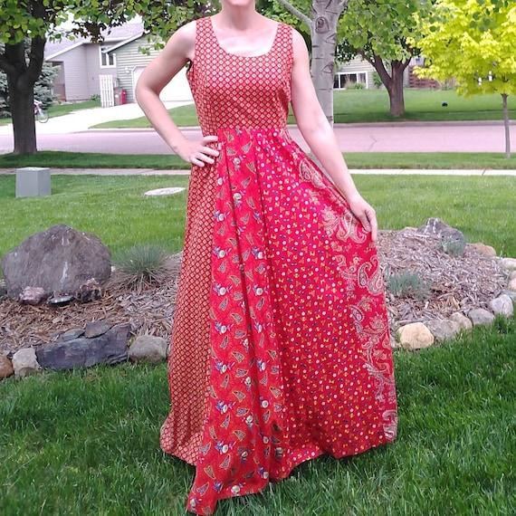 red BOHO MAXI DRESS full skirt M (E3)