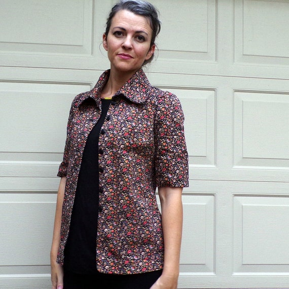 FLORAL TWILL JACKET art smock utility 70's does 3… - image 4