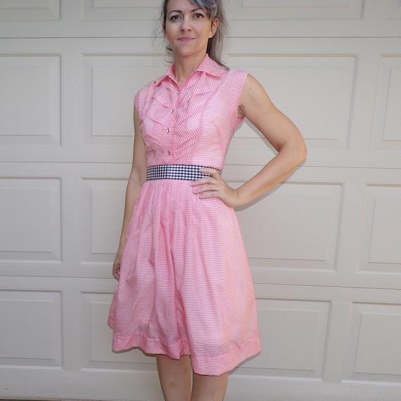 1950's PINK GINGHAM shirtwaist DRESS 50's carol br