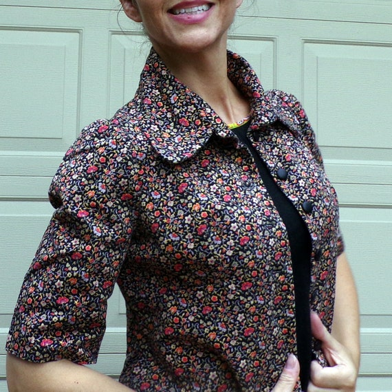 FLORAL TWILL JACKET art smock utility 70's does 3… - image 1