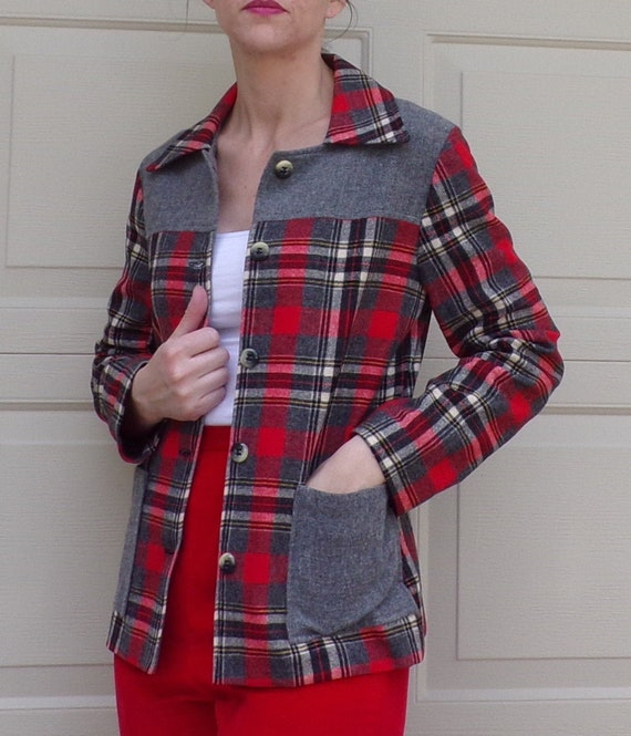 PLAID WOOL shirt JACKET 1950s 50s S (A2)