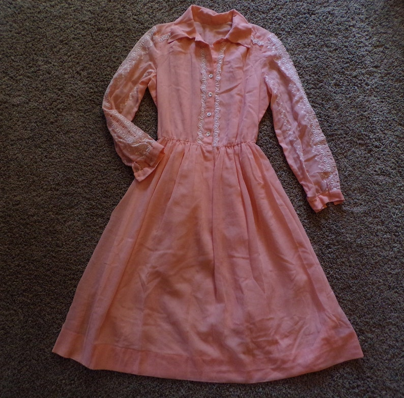 peachy keen 1960's VOILE SHIRTWAIST DRESS 60's S (F9)