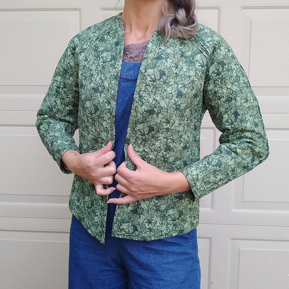 REVERSIBLE QUILTED JACKET leaves flowers 1980's 80
