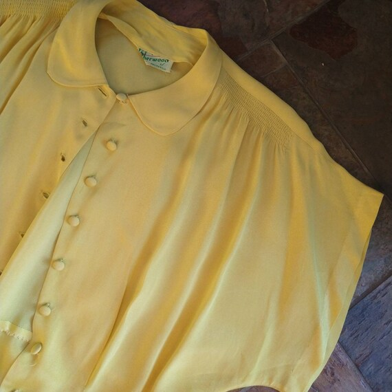 BUTTER YELLOW 1940's 1950's BLOUSE M L (F9) - image 9