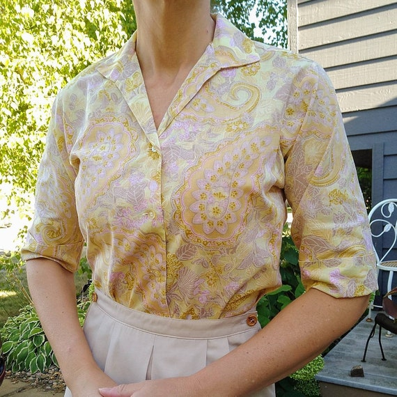 NOVELTY PRINT BLOUSE 50's 60's cotton xs S (B8)