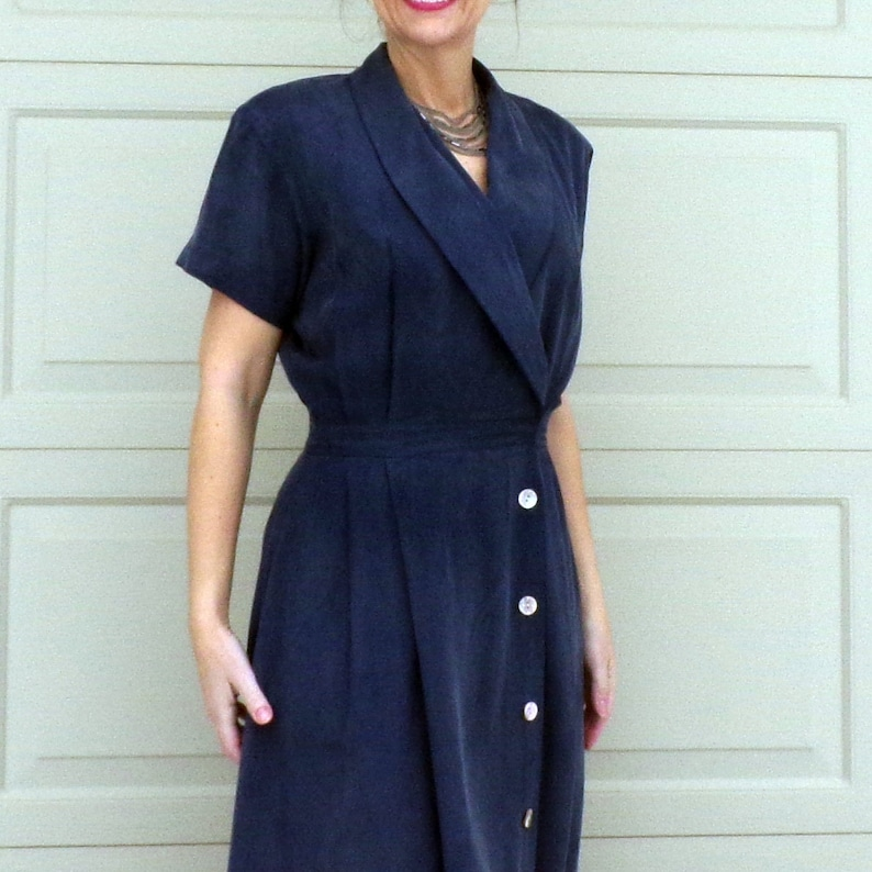 F1 WASHED SILK 1990/'s does 1940/'s DRESS with pockets M