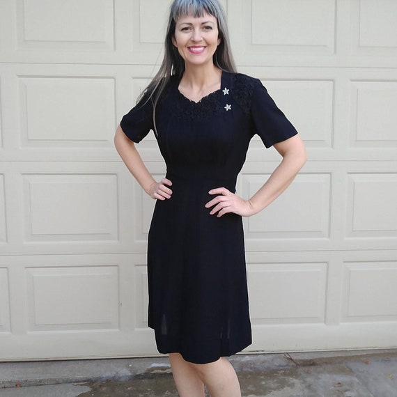 1950s 1960s BLACK KERRYBROOKE DRESS M (A8)