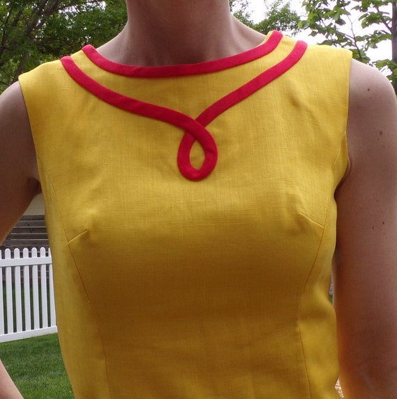 bright yellow MOD SHIFT DRESS sleeveless summer S - image 5