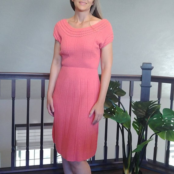 pink KERRYBROOKE KNIT DRESS 1960's 60's xs S (E11)