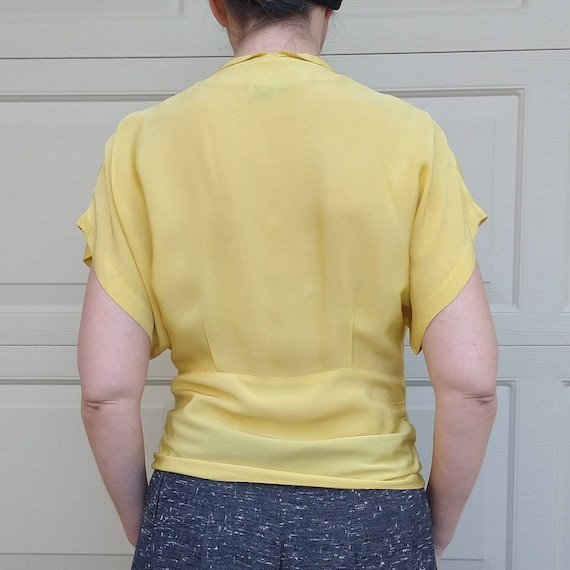 BUTTER YELLOW 1940's 1950's BLOUSE M L (F9) - image 6