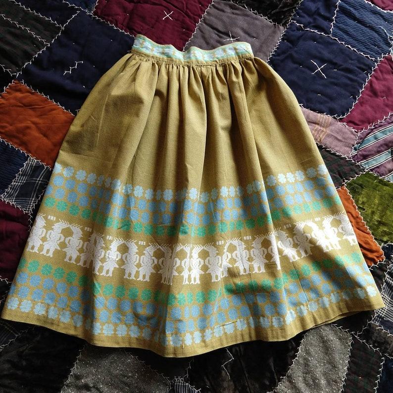 A3 1950/'s NOVELTY PRINT SKIRT 50/'s cotton full xs 24 waist