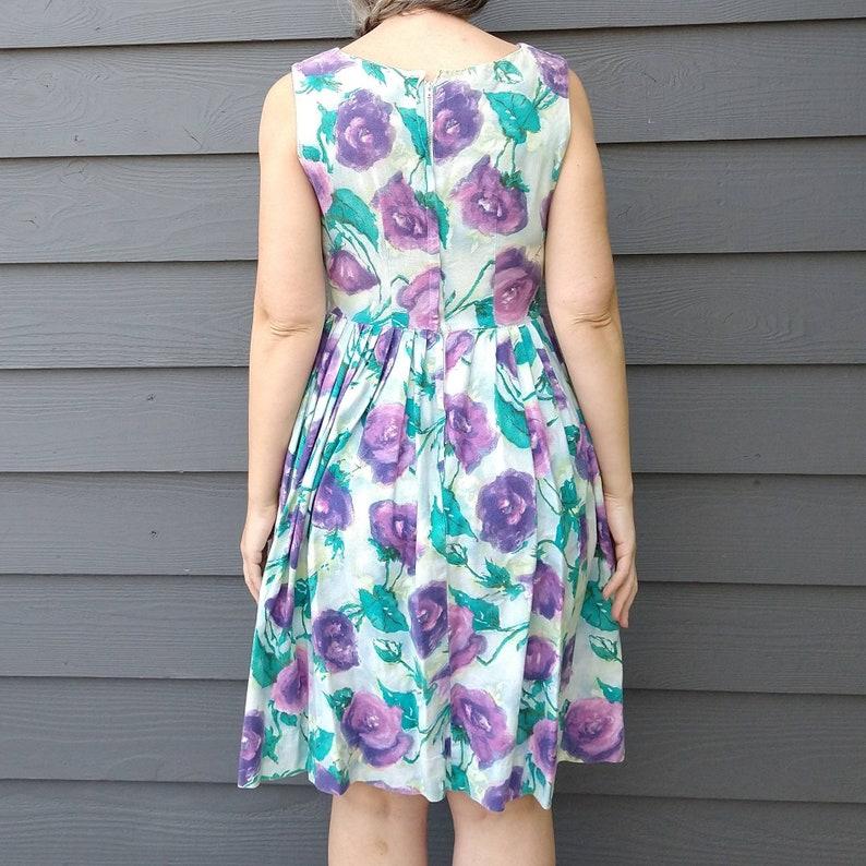 A2 1950/'s COTTON PIQUE floral DRESS 50/'s S