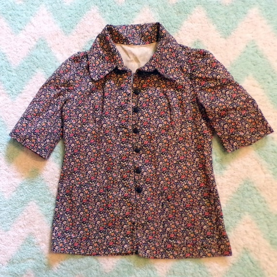 FLORAL TWILL JACKET art smock utility 70's does 3… - image 5