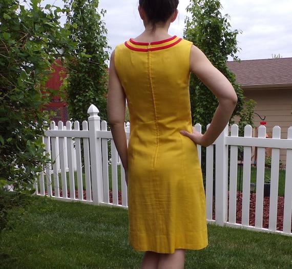 bright yellow MOD SHIFT DRESS sleeveless summer S - image 7
