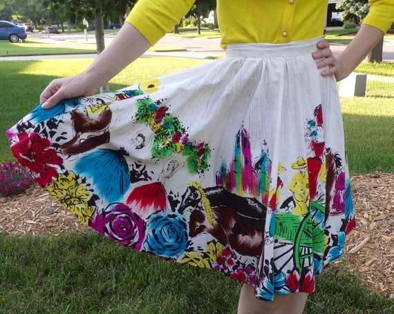 hand painted 1950's MEXICAN CIRCLE SKIRT 50's full