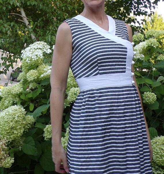 SEERSUCKER STRIPED DRESS 1960's 60's summer S (G9) - image 3