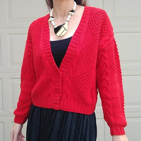 RED 1980s 1990s CARDIGAN SWEATER popcorn knit M (A