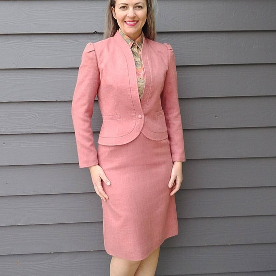 PINK WOVEN skirt SUIT 1970s 70s S (D6)