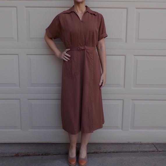manford UTILITARIAN DAY DRESS brown 1940's 40's wo