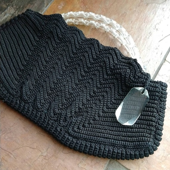 BLACK CORDE HANDBAG purse lucite handles 1940s 19… - image 8