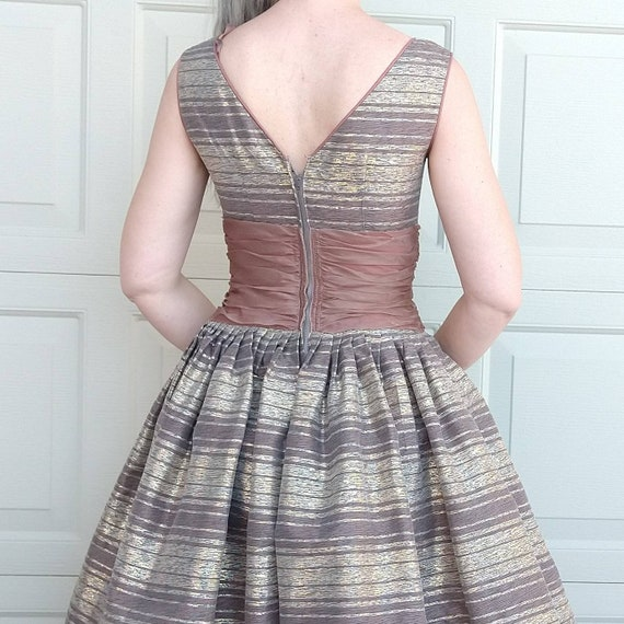 STRIPED PARTY DRESS midcentury prom dress 50's 60… - image 7