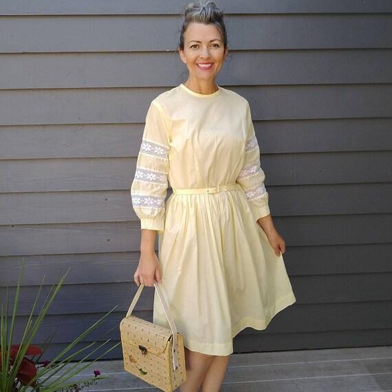 light yellow SUMMER COTTON DRESS brentwood 50's 60