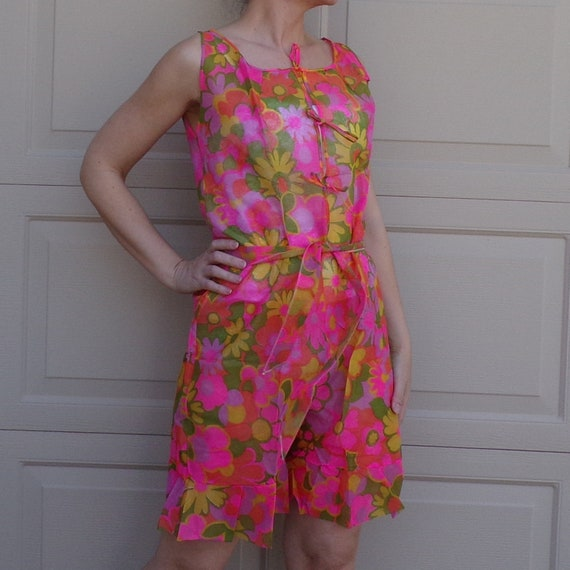 1960's FLORAL PAPER ROMPER dress shorts 60's S (E6