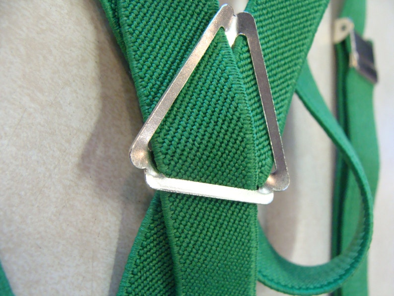 K4 SKINNY GREEN SUSPENDERS elastic and metal stretch clip on